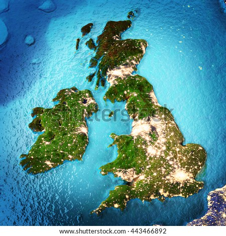 Great Britain and Ireland. Elements of this image furnished by NASA. 3D rendering - stock photo
