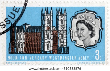 GREAT BRITAIN - AUGUST 10, 2015: A stamp printed by GREAT BRITAIN shows image portrait of Queen Elizabeth II against Westminster Abbey (Collegiate Church of St Peter), circa February, 1966 - stock photo