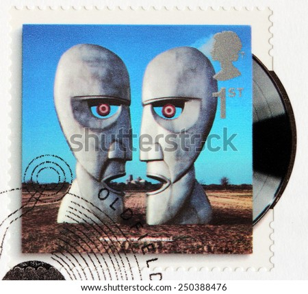 GREAT BRITAIN - CIRCA 2010: A stamp printed by GREAT BRITAIN shows Pink Floyd album The Division Bell (1994) cover, circa 2010. - stock photo