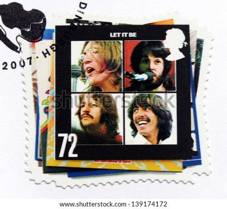 "GREAT BRITAIN - CIRCA 2007: a stamp printed by GREAT BRITAIN shows the Beatles album ""Let It Be"" cover, circa 2007. - stock photo"