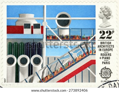 GREAT BRITAIN - CIRCA 1987: A stamp printed by GREAT BRITAIN shows view of Centre Georges Pompidou in Paris, France. British architects in Europe series, circa 1987. - stock photo