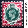 GREAT BRITAIN - CIRCA 1901: A stamp printed in Great Britain showing a portrait of King Edward VII, who ruled from 1901 to 1910, circa 1901 - stock photo