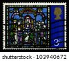 GREAT BRITAIN - CIRCA 1971: A stamp printed in the Great Britain shows Adoration of the Kings, from Stained Glass Windows, Canterbury Cathedral, circa 1971. - stock photo