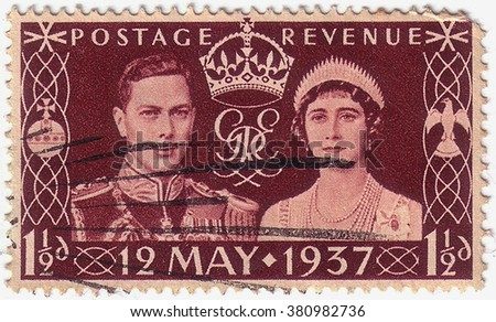 GREAT BRITAIN - CIRCA 1937: a stamp printed in the Great Britain shows King George VI and Queen Elizabeth, Coronation of George VI and Elizabeth, circa 1937 - stock photo