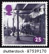GREAT BRITAIN - CIRCA 1996: a stamp printed in the Great Britain shows Locomotive at King Cross Station, London, circa 1996 - stock photo