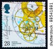 GREAT BRITAIN - CIRCA 1993: a stamp printed in the Great Britain shows Marine Chronometer by John Harrison, escapement, remontoire and fusee, inventor, circa 1993 - stock photo