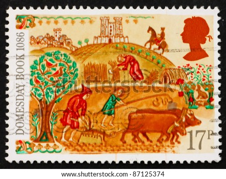 GREAT BRITAIN - CIRCA 1986: A stamp printed in the Great Britain shows Peasant, 900th Anniversary of Domesday Book, first nationwide survey in British history, circa 1986 - stock photo