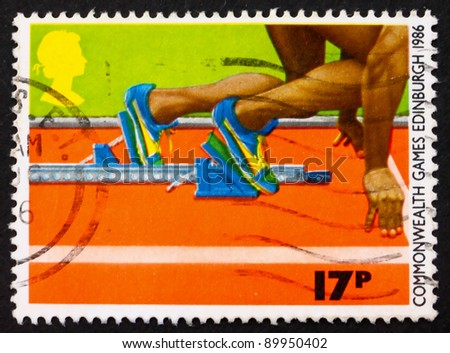 GREAT BRITAIN - CIRCA 1986: a stamp printed in the Great Britain shows Sprinter in the Starting Block, circa 1986