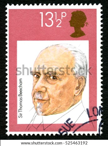 GREAT BRITAIN - CIRCA 1980: A used postage stamp from the UK, depicting a portrait of English conductor Sir Thomas Beecham, circa 1980.