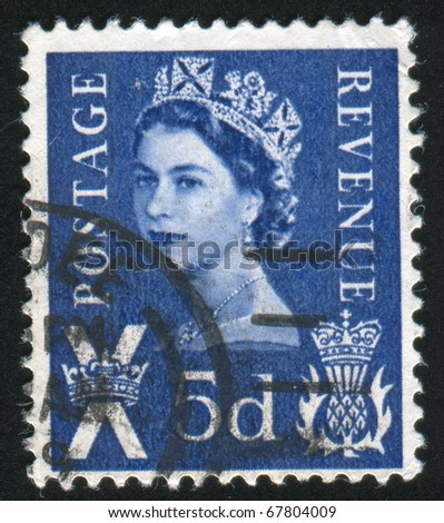 GREAT BRITAIN - CIRCA 1967: Stamp printed by Great Britain, shows queen Elizabeth II, circa 1967