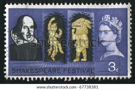 GREAT BRITAIN - CIRCA 1963: stamp printed by Great Britain, shows Shakespeare, circa 1963