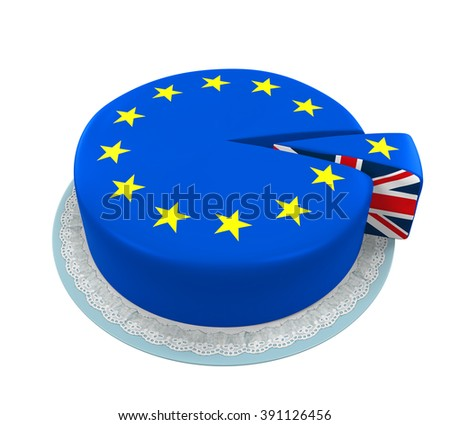 Great Britain Flag as Piece of European Union Cake