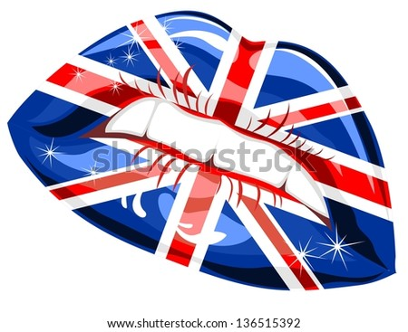 Great Britain flag lipstick on sensuality lips - stock photo