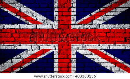 Great Britain flag on a brick wall