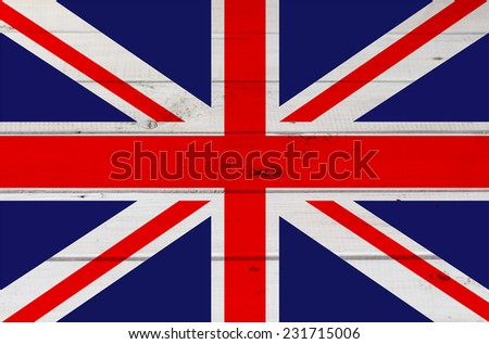 Great Britain flag on wooden board, background - stock photo