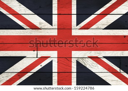 Great Britain flag painted on wooden background.  - stock photo