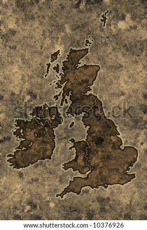 Great britain map on an ancient grunge parchment sheet background - stock photo