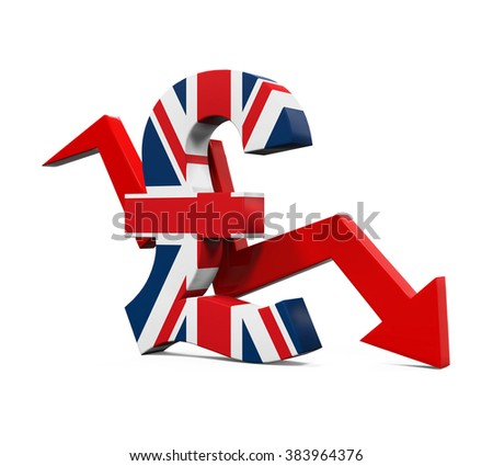 Great Britain Pound Symbol and Red Arrow - stock photo