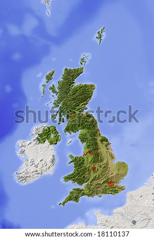 Great Britain. Shaded relief map with major urban areas. Surrounding territory grayed out. Colored according to vegetation. Includes clip path for the state area. Data source: NASA - stock photo