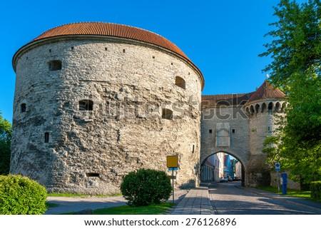 Great Coastal Gate and Fat Margaret tower. Tallinn, Estonia, Baltic States, EU - stock photo