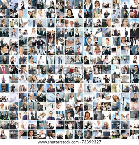 Great collage made of about 250 different business photos - stock photo