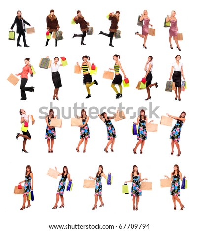 Great collection of beautiful shopping women in different position. - stock photo