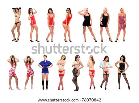 Great collection of different young woman with long slim legs. - stock photo