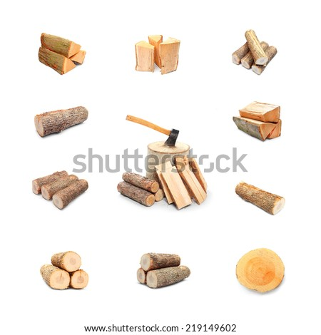 Great collection of firewood on white background. - stock photo