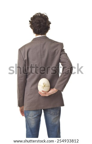 Great Easter Gift. Back Portrait. - stock photo