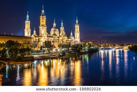 Great evening view of the Pilar Cathedral in Zaragoza, Spain - stock photo
