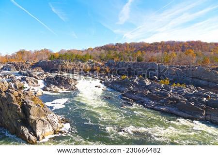Great Falls National Park in autumn, Virginia USA  - stock photo