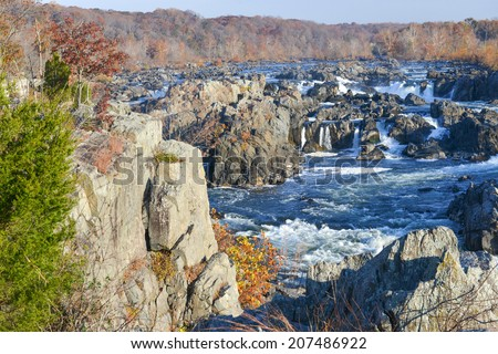 Great Falls National Park on Potomac River in Autumn - Virginia USA  - stock photo
