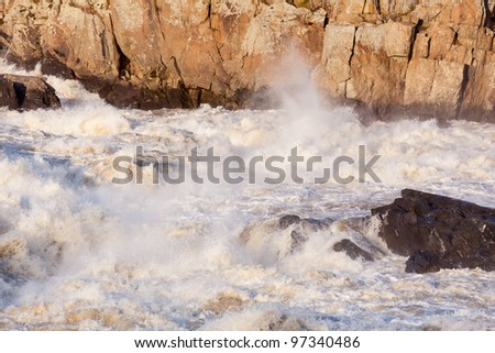 Great Falls on Potomac river outside Washington DC in flood after heavy rain - stock photo