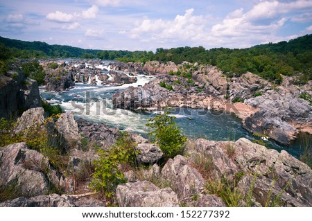 Great falls river rapids - stock photo
