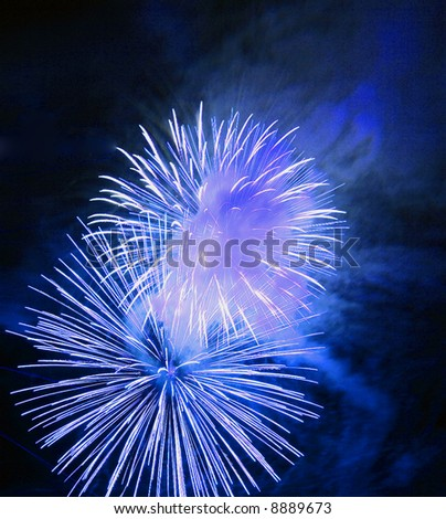 Great firework on night sky - celebration of an event - stock photo