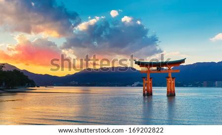 Great floating gate (O-Torii) in Miyajima - stock photo