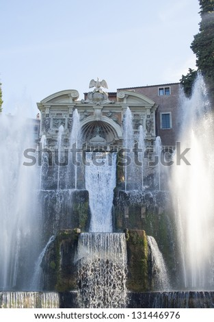 Great fountain and garden at the villa of cardinal Ippolito d`Este, Tivoli, Italy - stock photo
