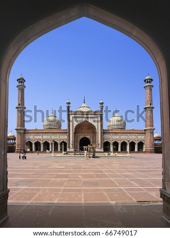 Great Friday Mosque (Jami Masjid) in Delhi, the most important mosque in India.