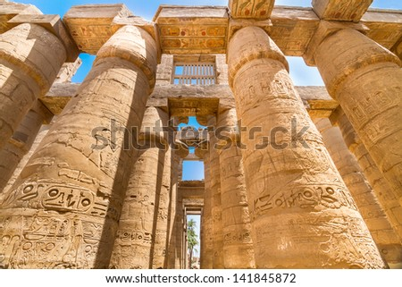 Great Hypostyle Hall  at the Temples of Karnak (ancient Thebes). Luxor, Egypt - stock photo