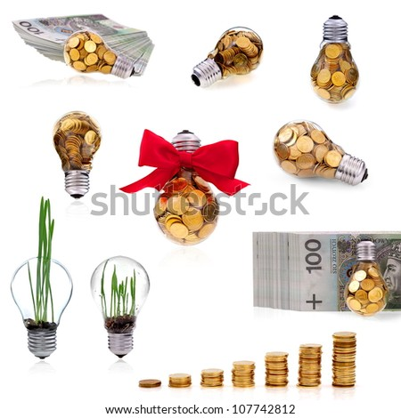 Great idea and traditional glass bulb collection - stock photo