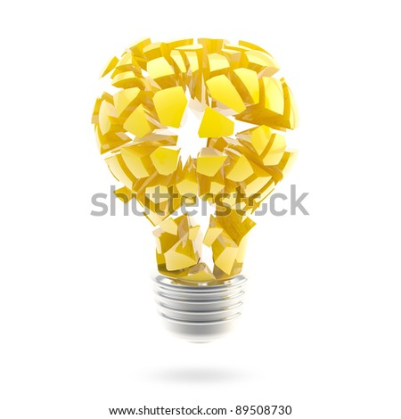 Great idea conception: shiny and glossy broken light bulb isolated on white - stock photo