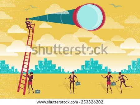 Great illustration of Retro styled Businessman climbing above the clouds to get a better view of the landscape than his competitors. - stock photo