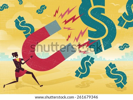 Great illustration of Retro styled Businesswoman catching all the money with his giant cash catching Magnet. - stock photo