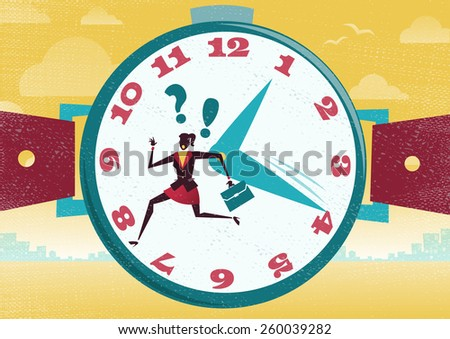 Great illustration of Retro Styled Businesswoman who is running the race of her life with just not enough time to get to a business appointment. 