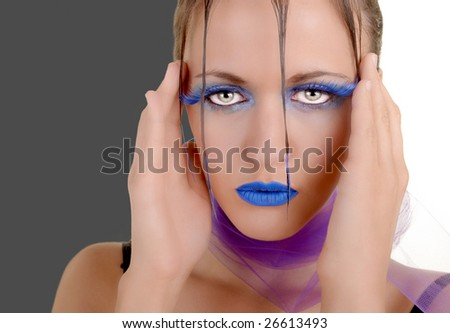 Great image of a high fashion Model On two toned background - stock photo