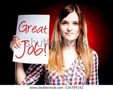 Great job, school exam and happy woman - stock photo