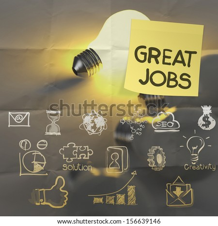 great jobs words sticky note on  lightbulb crumpled paper as concept - stock photo