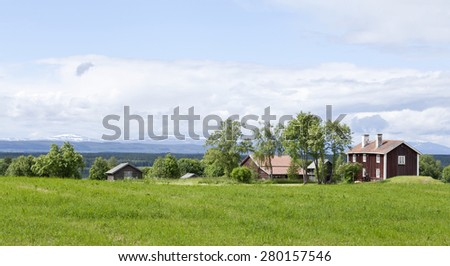 Great-Lake area in sunny June and July. Agriculture, farmland, forests and mountains in sunshine. Meadows, fields this side. - stock photo