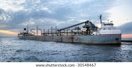 Great Lakes Freighter, Grand Haven Michigan - stock photo