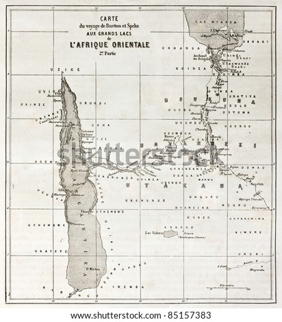 Great lakes region old map, eastern Africa. Created by Erhard, published on Le Tour du Monde, Paris, 1860. - stock photo